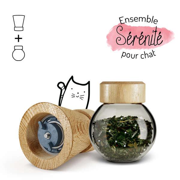Illustration ensemble complément alimentaire sérénité chat